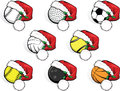 Santa Cap Sports Balls Royalty Free Stock Photos