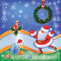 Santa card with Christmas decor 03 Royalty Free Stock Photo