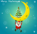 Santa carrying a moon with a christmas tree illustration of Stock Photography