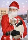 Santa with cat, christmas Royalty Free Stock Photo