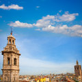 Santa catalina church towerand miguelete in valencia tower and historic downtown spain Royalty Free Stock Images