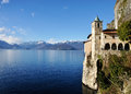 Santa caterina landscape hermitage maggiore lake panorama and view of mother island and alps Stock Images