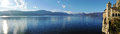 Santa caterina panorama hermitage maggiore lake and view of mother island and alps Stock Images