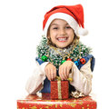 Santa child with christmas presents happy smiling girl isolated on white background Stock Photos