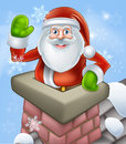 Santa in chimney an illustration of on a snowy rooftop poping out of a and waving at christmas Royalty Free Stock Photography