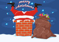 Santa in the chimney - merry christmas Royalty Free Stock Photo