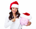 Santa christmas business woman with a piggy bank helper isolated on white background Royalty Free Stock Images