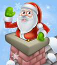 Santa christmas chimney scene an illustration of on a snowy rooftop poping out of a and waving at Stock Photo