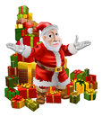 Santa and Christmas Gifts Stock Photos