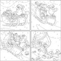 Santa with christmas gifts claus presents slides down in his sleigh mini comics the black and white outline illustrations Stock Photography