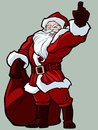 Santa christmas illustration of with the bag of presents Stock Photography