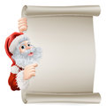 Santa christmas poster of cartoon character pointing sideways at a sign Stock Photography