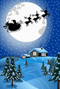 Santa christmas sled or sleigh flying at night illustration featuring with silhouette of claus in his pulled by three reindeers Royalty Free Stock Image