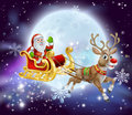 Santa christmas sleigh moon cartoon illustration of clause in his or sled flying in front of a big full Stock Photography