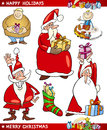 Santa and Christmas Themes Cartoon Set Stock Photos