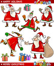 Santa and Christmas Themes Cartoon Set Royalty Free Stock Photo