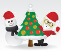 Santa and christmas tree Stock Photography