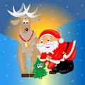 Santa with christmas tree. christmas card. Royalty Free Stock Photo