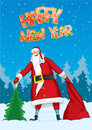 Santa with a christmas tree and a sack Royalty Free Stock Photos