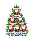 Santa christmas tree stacked santas in shape of Stock Images
