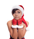 Santa christmas woman looking to the side thinking happy and pla