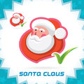 Santa claus accept icon glossy merry christmas new year button sign symbol logo Stock Photos