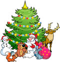 Santa claus and the animals of the forest illustration shows snowman who reads list holiday gifts for on background christmas Royalty Free Stock Photography