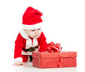 Santa Claus baby with gift box on white Royalty Free Stock Images