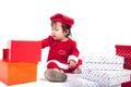 Santa Claus baby girl Royalty Free Stock Photo