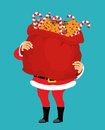 Santa Claus and bag of cookies and peppermint stick. Christmas s