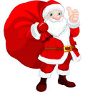 Santa claus with a bag cute full of gifts Stock Photography
