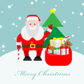Santa claus with a bag of gifts christmas card Royalty Free Stock Image