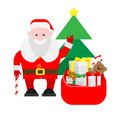 Santa claus with a bag of gifts illustration on white background Royalty Free Stock Image