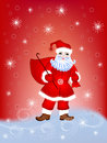 Santa claus with a bag of gifts on red blue background snowflakes Royalty Free Stock Photos