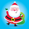 Santa claus with bag of presents cartoon illustration a grinning a over one shoulder and waving his other hand Royalty Free Stock Photography
