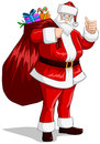 Santa Claus With Bag Of Presents For Christmas Royalty Free Stock Image