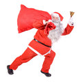 Santa claus with a bag on white background Royalty Free Stock Photo
