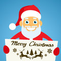 Santa Claus Banner, White Sign Board Blank Empty Royalty Free Stock Photo
