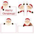 Santa claus and banners set collection of five cartoon characters with blank banner in different positions expressions isolated on Royalty Free Stock Photo