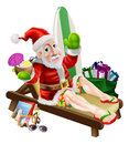 Santa claus beach vacation christmas with his items presents and surf board relaxing on the or by the pool wearing board shorts Royalty Free Stock Photo