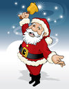Santa claus with bell cartoon illustration of ringing a on blue background Stock Photography