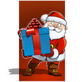 Santa Claus with Big Blue Christmas Present - Gift Stock Images