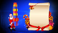 Santa claus with big gift set before sign Royalty Free Stock Photos