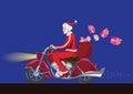 Santa claus on bike Royalty Free Stock Photo