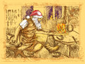 Santa claus blacksmith full sized original hand drawing christmas theme in the smithy manufactures horseshoes for his reindeer Stock Photography