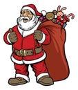 Santa claus bring a bag full of gift