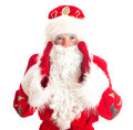 Santa claus is calling someone isolated on white Stock Photos
