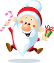 Santa claus with candy cane illustration of cartoon leaping in air and present white background Stock Photography