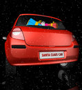 Santa Claus car in starry sky Royalty Free Stock Image