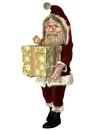 Santa claus carrying a christmas present happy tied with shiny gold ribbon d digitally rendered illustration Stock Image